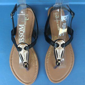 Black Toe Thong Flats Sandals Stones Summer Casual